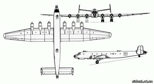 Crew: 10 Length: 34.20 m (112 ft 2 in) Wingspan: 50.30 m (165 ft 1 in) Height: 6.89 m (22 ft 7 in) Wing area: 254 m²...